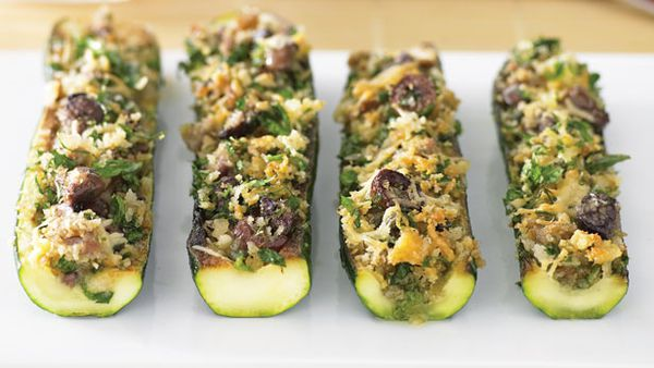 Anchovy and caper stuffed zucchini