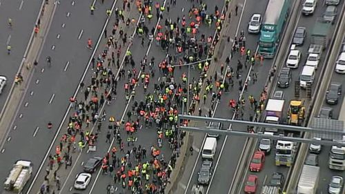 Protesters on the West Gate Freeway in Melbourne.