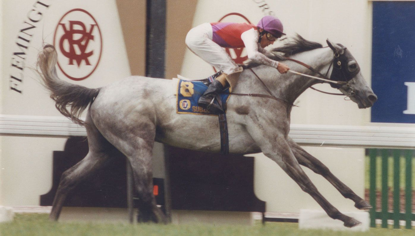 Greg Hall rides Subzero to victory in the 1992 Melbourne Cup.