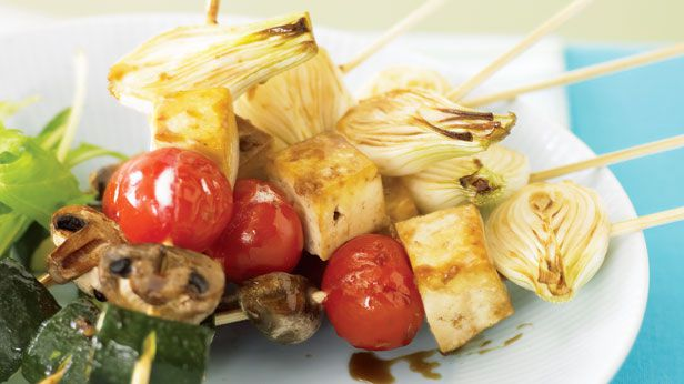 Tofu and vegetable skewers