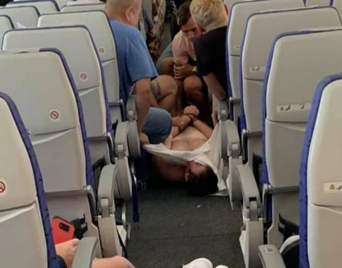 An all-out brawl on the plane ensued and the shirtless man eventually was restrained.