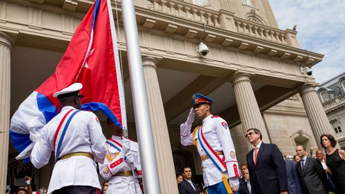 Cuban flag flies in Washington for first time in 54 years
