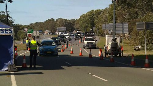Queensland border delays lengthening as motorists line-up to get into the state.