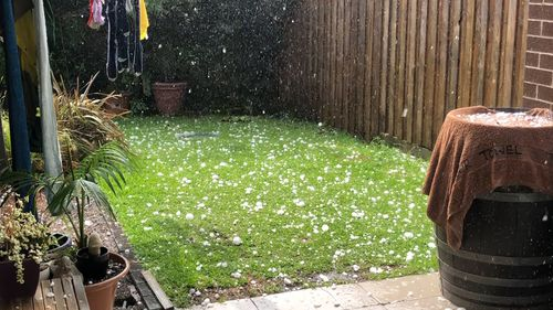 Backyards across the city were blanketed with hail.
