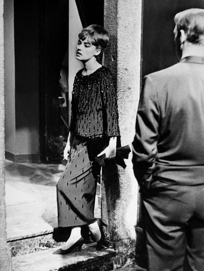 Jeanne Moreau during the shooting of the film <em>Eva </em>in Rome, Italy, in February 1962.