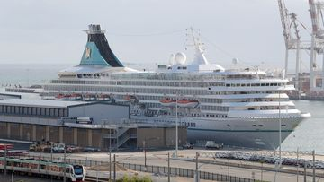 The cruise ship Artania is seen docked in Fremantle harbour in Fremantle