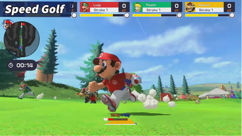 Mario Golf is a single and multiplayer golfing gamin set in the Mario universe. SOURCE: Nintendo