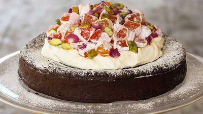 "Recipe:<a href=""http://kitchen.nine.com.au/2016/06/06/13/29/alanas-turkish-delight-flourless-chocolate-cake"" target=""_top"" draggable=""false"">Alana's Turkish delight flourless chocolate cake</a>"