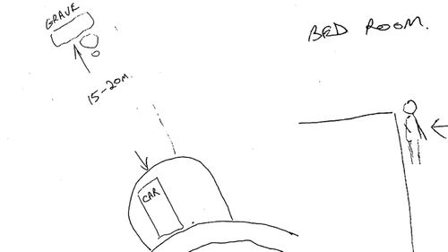 The drawing Michael Atkins did leading police to Matthew Leveson's body.