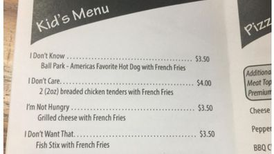 Finally - a kids' menu that offers what they want. Image: Reddit.