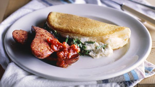 Goat's cheese souffle omelette with chorizo