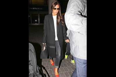 No-one looks better in their own brand than Victoria Beckham, even when coming off an international flight. <br/><br/>With price tags like $4200 on her wool-twill coat and $1600 on the leather tote, we suppose the right money can buy you oodles of style.