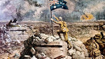 The painting by Alfred Pearse showing Australian Lieutenant Arthur Hull planting the flag on a captured enemy bunker in 1917.