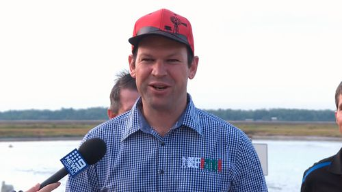 Northern Australia Minister Matt Canavan today announced the additional funds, which will see the construction of a solar farm, fish nursery and equipment. Picture: 9NEWS.