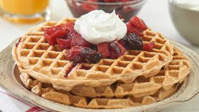 Waffle with cherry berry sauce