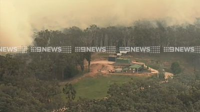 <p>The bushfire threatened homes at Lancefield, about 74km north-west of Melbourne. (9NEWS)</p><p> </p>