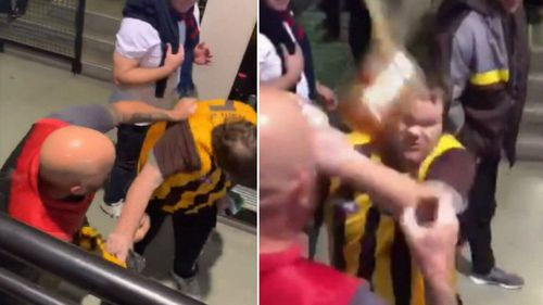 The Melbourne fan appears to punch the Hawthorn supporter before onlookers intervene.