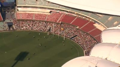 Thousands poured into the east and west stands. (9NEWS)