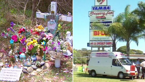 Lee Ellen Stace's memorial and file vision of police outside the Yamba shopping complex where Lee vanished back in September 1997.