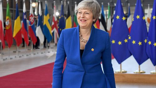 UK Prime Minister Theresa May arrives in Brussels.