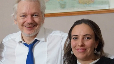Stella Moris pictured with Julian Assange.