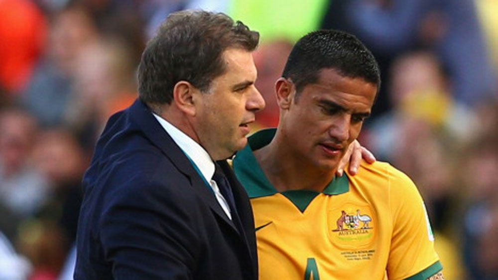 Ange Postecoglou and Tim Cahill. (Getty)