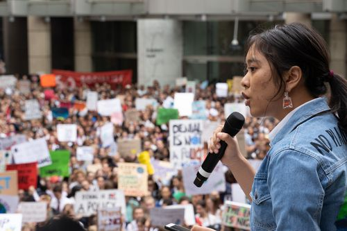 Teenagers spoke to huge crowds in Sydney.
