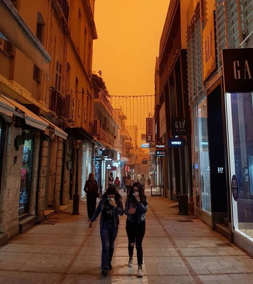 Pedestrians were seen to be struggling while walking in streets through the dust. Picture: Russian Market.