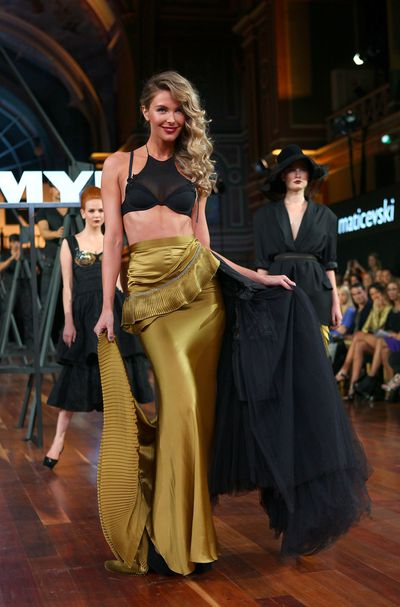 Jennifer Hawkins inToni Maticevski on the catwalk during the Myer Autumn/Winter Season Launch 2011 Show in Melbourne, March, 2011