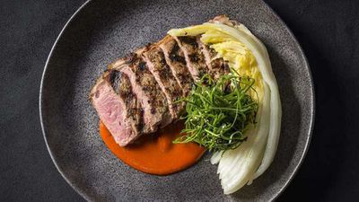 """Recipe: <a href=""""http://kitchen.nine.com.au/2018/01/12/13/20/sirloin-with-red-hot-chilli-pepper-miso-and-pickled-wombok"""" target=""""_top"""">Sirloin steak</a>"""