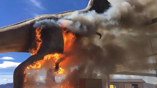 The dinosaur, which was at the Royal Gorge Dinosaur Experience in Colorado smouldered for 10 minutes before bursting into flames and offering park visitors an incredible sight to witness. Picture: ZACH REYNOLDS/ROYAL GORGE DINOSAUR EXPERIENCE.
