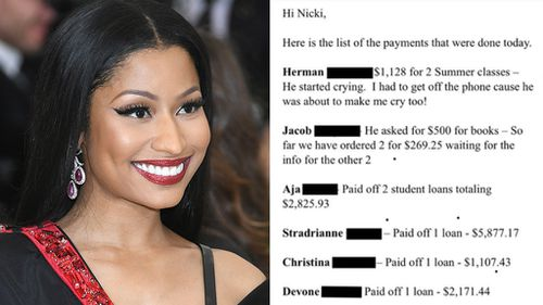 Rapper Nicki Minaj rewards top-performing students by paying off their loans