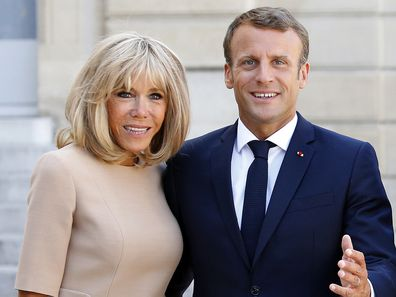 French President Emmanuel Macron and his wife Brigitte Macron at the Elysee Presidential Palace on August 22, 2019 in Paris, France.