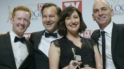 Rob Stich and the Utopia team accept their Logie for Most Outstanding Comedy Program for Utopia. (AAP)