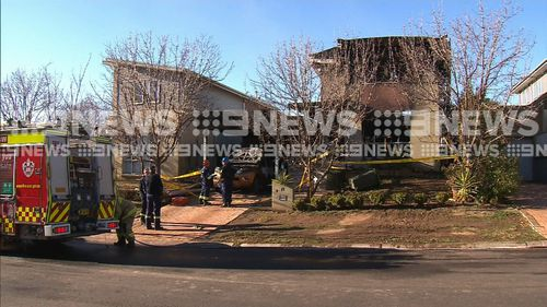 The home was completed destroyed in the blaze, and will likely have to be bulldozed. Picture: 9NEWS