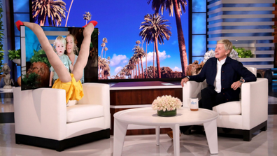 Amy Schumer appears with her son Gene on Ellen in a compromising position.