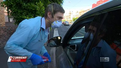 "Victorian GP who has resorted to testing for COVID-19 in a pop-up ""drive-thru"" outside his surgery."