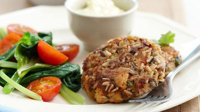 """Recipe: <a href=""""http://kitchen.nine.com.au/2016/05/16/10/45/japanesestyle-salmon-patties-for-10"""" target=""""_top"""">Japanese-style salmon patties</a>"""