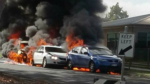 The driver allegedly crashed one of the stolen cars, leaving it in a fiery mess in Leongatha. (Crime Watch Victoria)