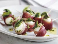Marinated baby bocconcini with prosciutto