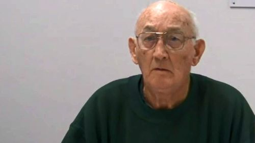 Pedophile priest Gerald Ridsdale appears before the Royal Commission into Insitutional Responses to Child Sexual Abuse via videolink from jail. (Supplied)