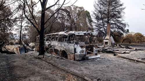Burnt property is seen in Clifton Creek near Bairnsdale.