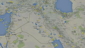 A flight path map from July 29, 2014, shows several commercial aircraft travelling through Iraqi airspace. (Flightradar24)