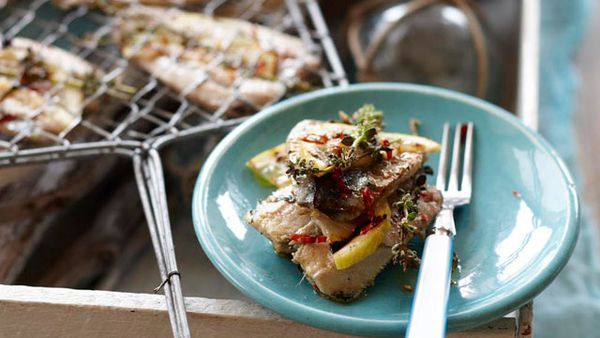 Grilled lemon and thyme sardines