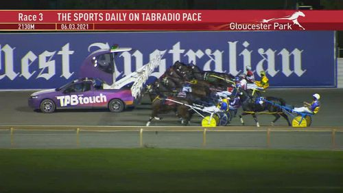 The harness race at the Perth track was held up for more than 30 minutes during the incident.