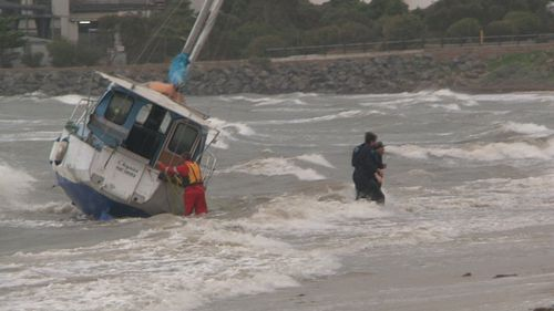 A man had to be pulled to safety from his boat off Port Lincoln. Picture: 9NEWS