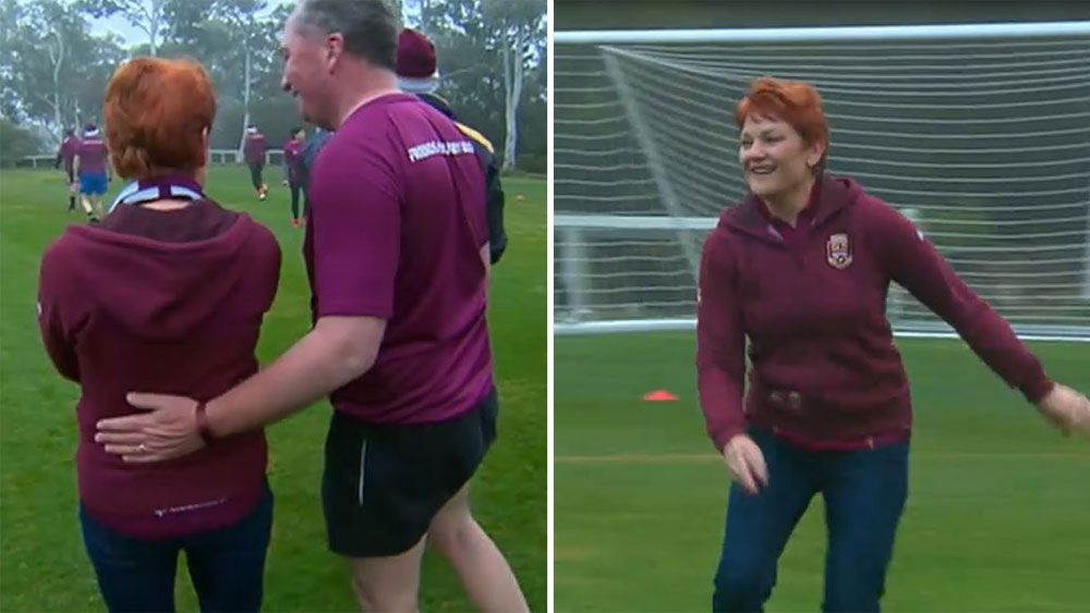 Barnaby Joyce and Pauline Hanson team up for Queensland against NSW in State of Origin pollies touch football game