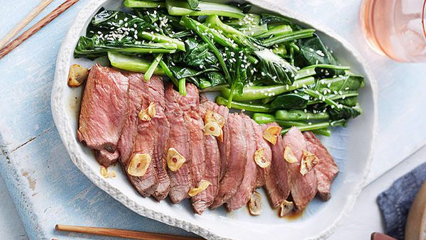 Adam Liaw's teriyaki steak with buttered Asian greens