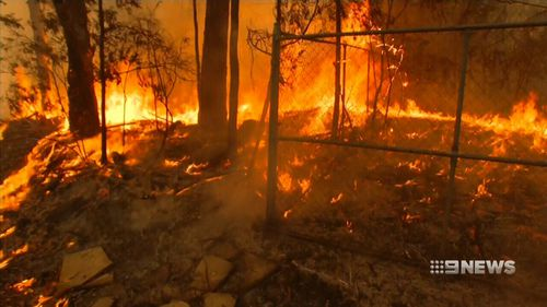 The fire has ripped through bushland in Mulgoa.
