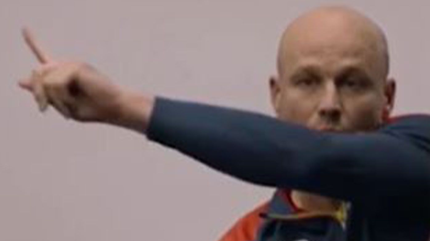 Footage of Adelaide Crows coach Matthew Nicks delivering Brad Crouch a blistering spray